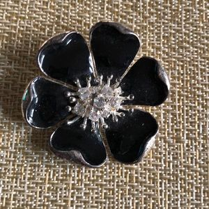 Jewelry - Black enamel and rhinestone flower brooch